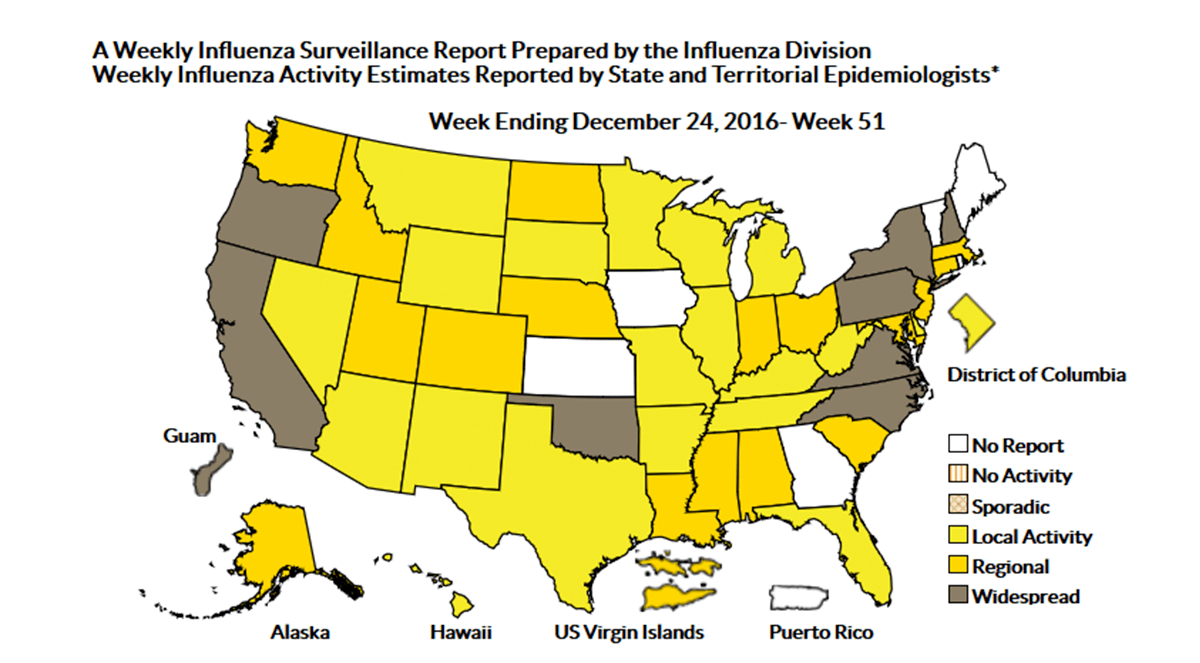 CDC: 2016-2017 Flu Activity Now Widespread in 8 States